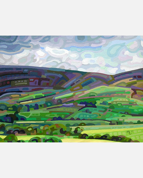 original abstract landscape painting of clouds making shadows on the countryside