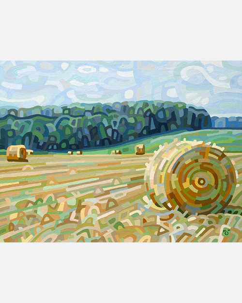 original abstract landscape painting of a field of hay bales