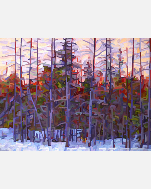 original abstract landscape painting of night falling in a muskoka winter forest