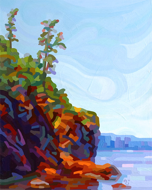 original abstract landscape painting of rocky lake shore