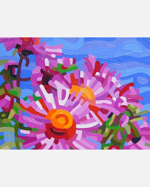 original abstract landscape painting of pink aummer asters
