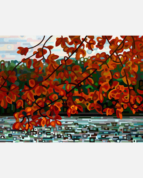 original abstract landscape painting of a maple tree overhanging a grey fall lake