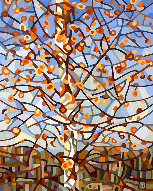 original abstract landscape painting of a november birch