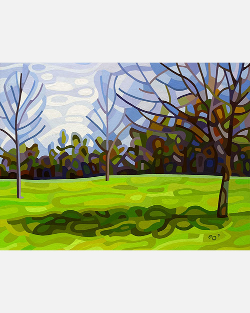 original abstract landscape painting of early spring shadows