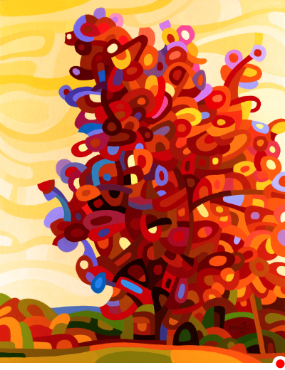 original abstract landscape painting of a fiery red tree against a yellow sky
