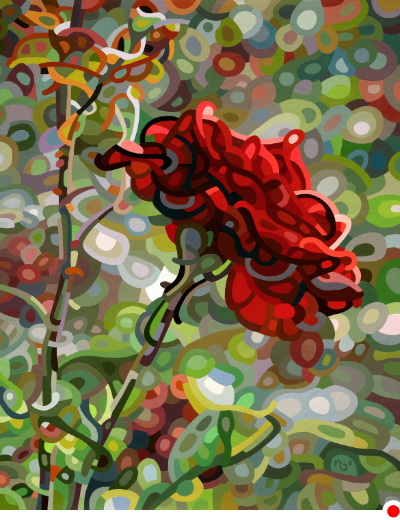 original abstract landscape painting of a single rose on a late summer day