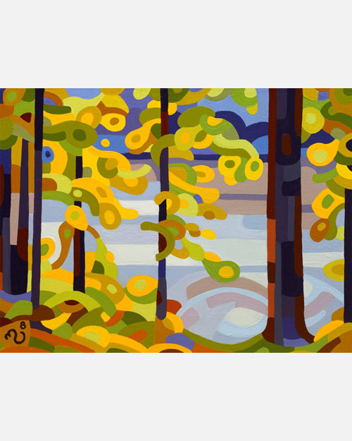 original abstract landscape painting of a fall lake with yellow trees