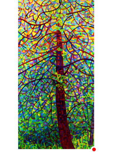 original abstract landscape painting of a tree backlit in the forest