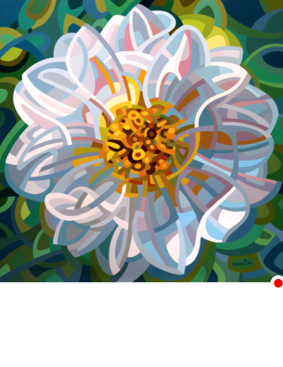 original abstract landscape painting of a single white flower