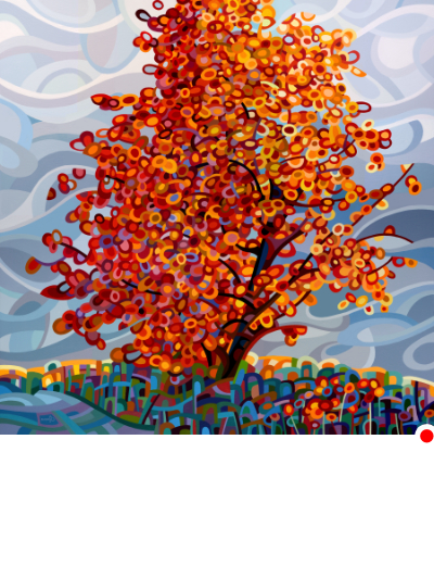 original abstract landscape painting of an autumn storm approaching