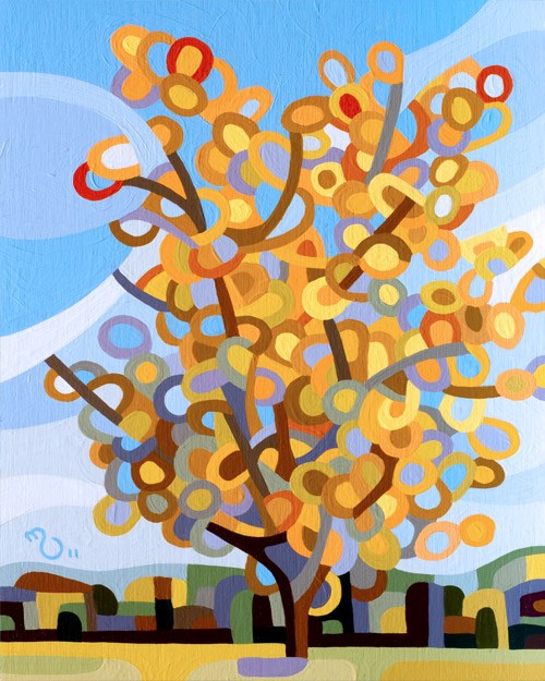 original abstract landscape painting of a fall tree