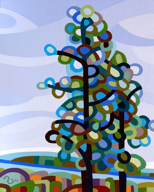 original abstract landscape painting of a tree on a hill