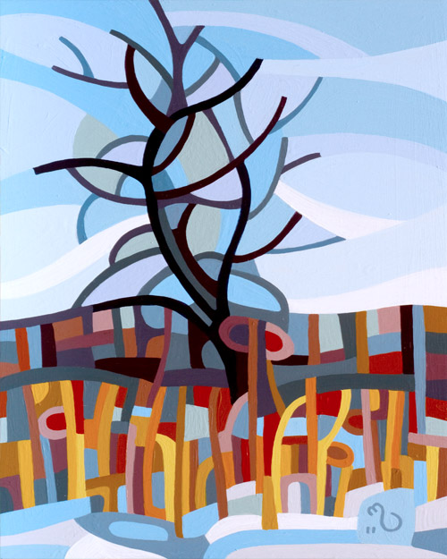 original abstract landscape painting of a winter tree
