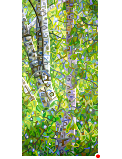 original abstract landscape painting of a green birch forest
