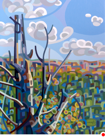 original abstract landscape painting of the view from a hill on a fall afternoon