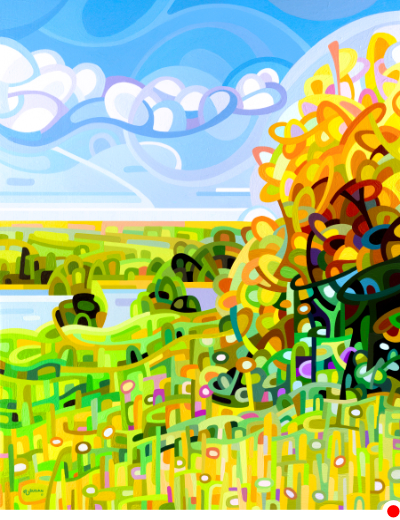 original abstract landscape painting of a summer field