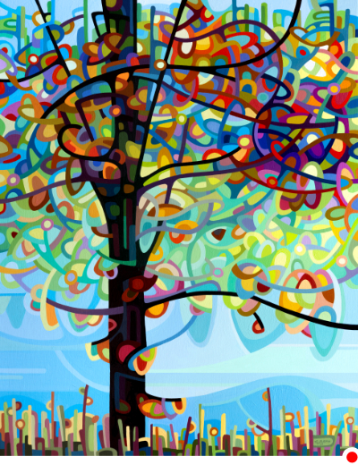 original abstract river painting of lively colorful tree