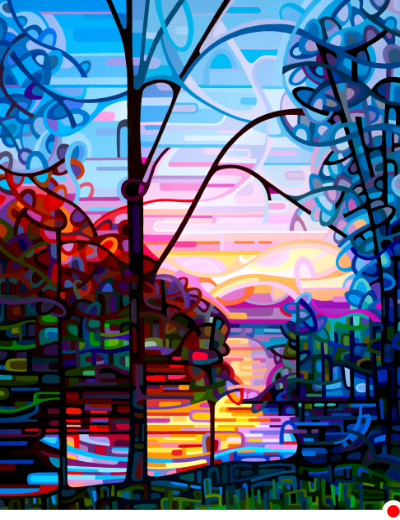 original abstract landscape painting of a sunrise lake