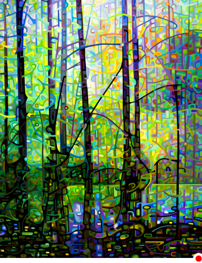 original abstract landscape morning forest with a quiet pool