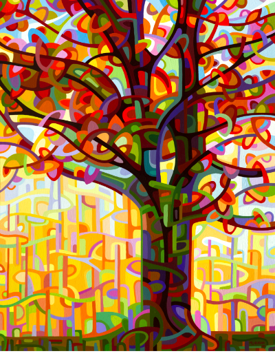 original abstract landscape fall tree portrait