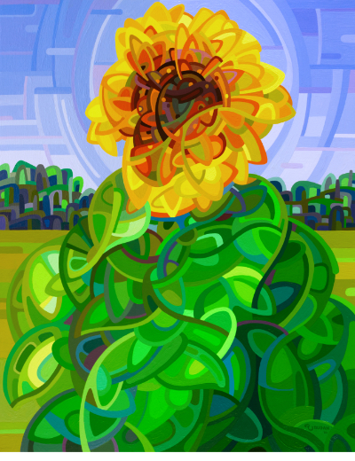 original abstract landscape summer blue sky colorful sunflower field