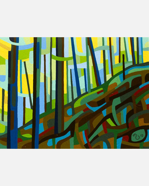 original abstract landscape study of a spring forest hill