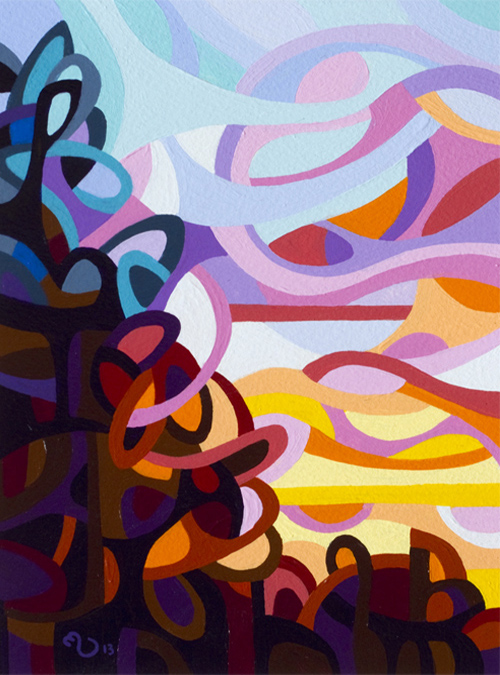 original abstract landscape study of a sunset