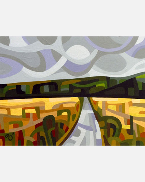 original abstract landscape study of a grey fall day road