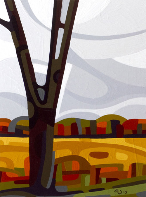 original abstract landscape study of a grey fall day tree