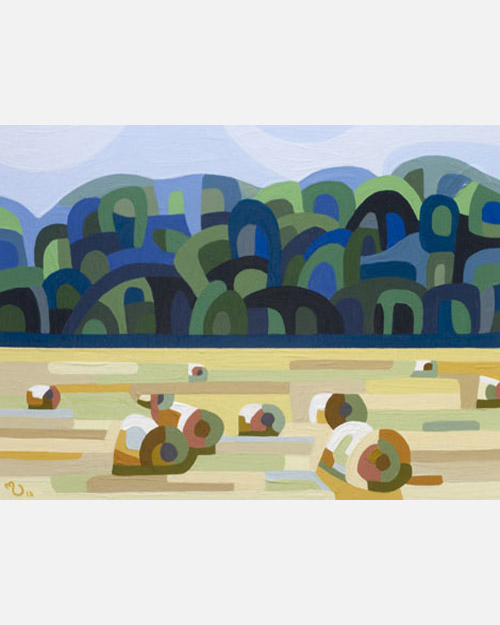 original abstract landscape study of a hay bales