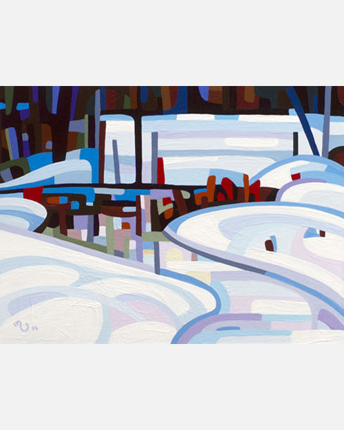 original abstract landscape study of a frozen winter creek
