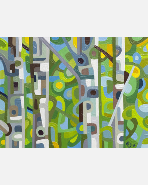 original abstract landscape study of a green birch forest