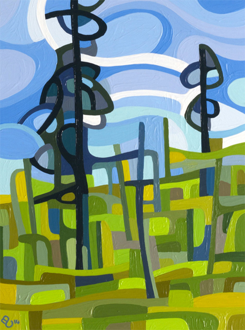 original abstract landscape study of a green pine forest morning