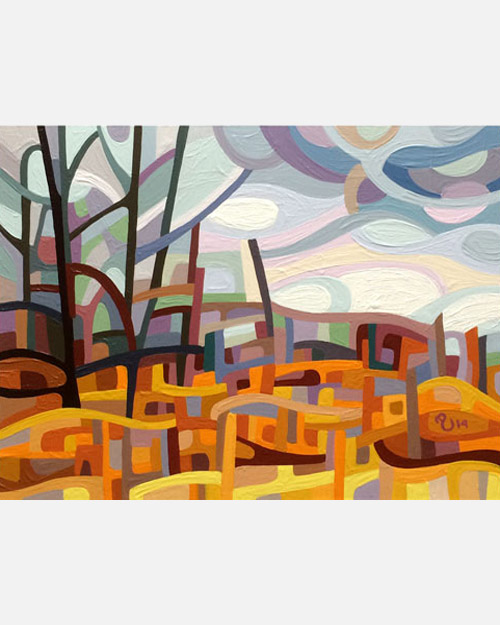original abstract landscape study of a grey fall morning
