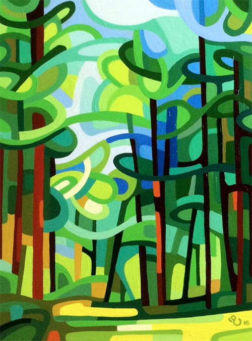 original abstract landscape study of a green summer forest
