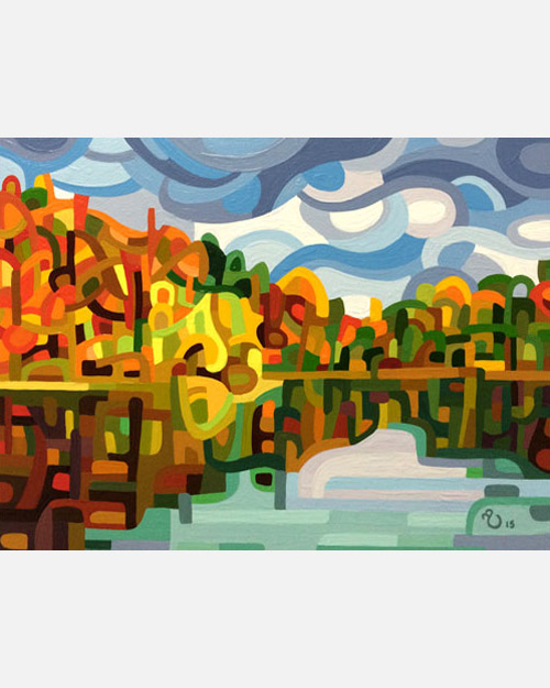 original abstract landscape study of an autumn lake