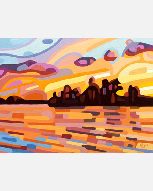 original abstract landscape study of a northern sunset
