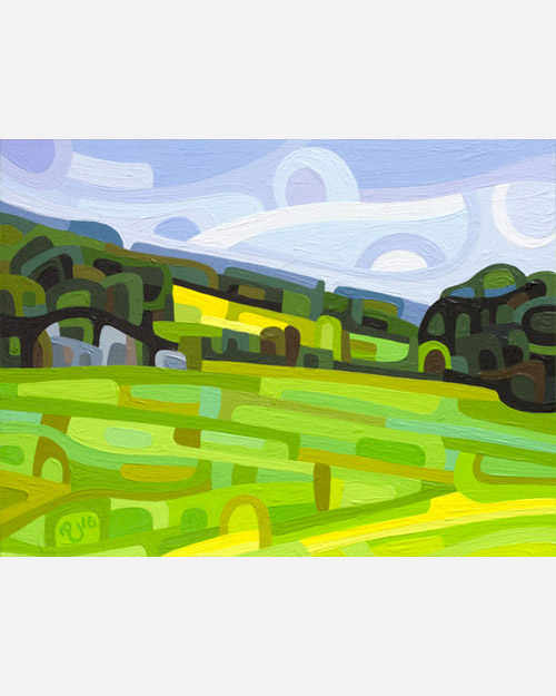 original abstract landscape study of a summer field