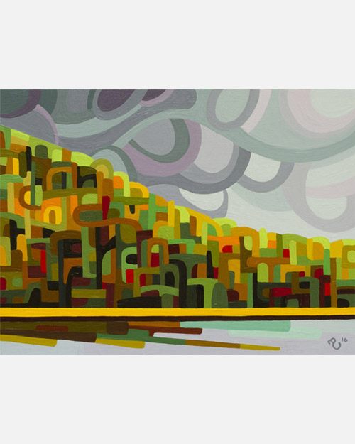 original abstract landscape study of grey fall lake