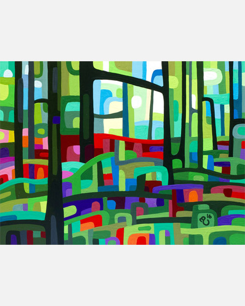original abstract landscape study of a green spring forest