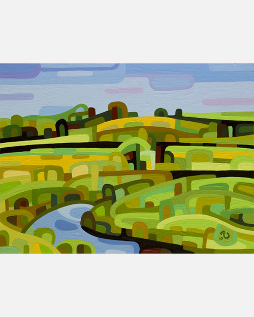 original abstract landscape study a summer field and stream