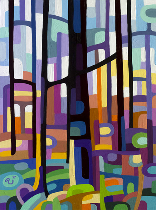original abstract landscape study of dawn in the forest