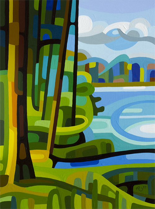 original abstract landscape study of a lakeside summer tree