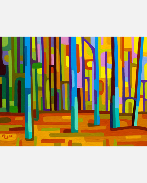 original abstract landscape study of a orange forest dawn morning