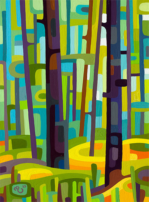 original abstract landscape study of a green summer forest day