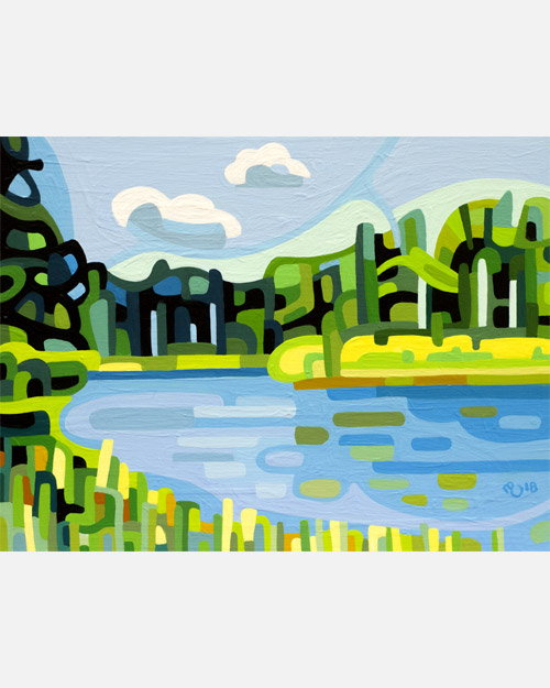original abstract landscape study of summer wetlands with blue streams and green forests