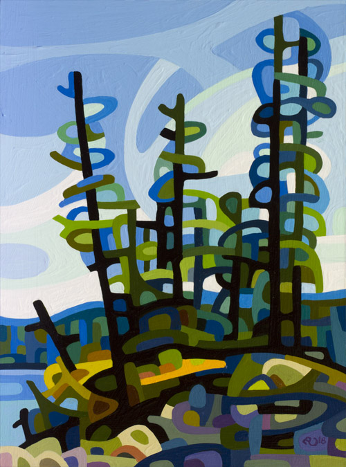 original abstract landscape painting study of a group of pine trees on a rocky shore
