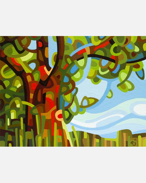 original abstract landscape study of an oak tree summer day field